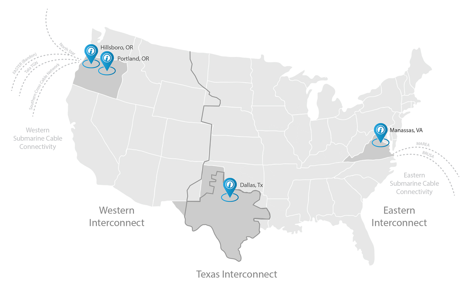 US Map showing locations of Opus Interactive data centers in Oregon, Texas, and Virginia.