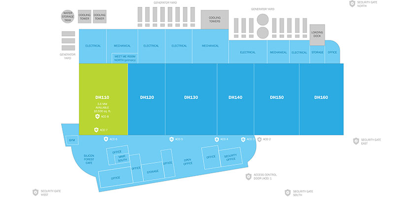 Data Center Diagram - This Tier III+ Hillsboro facility is protected by 8 layers of MFA and more.