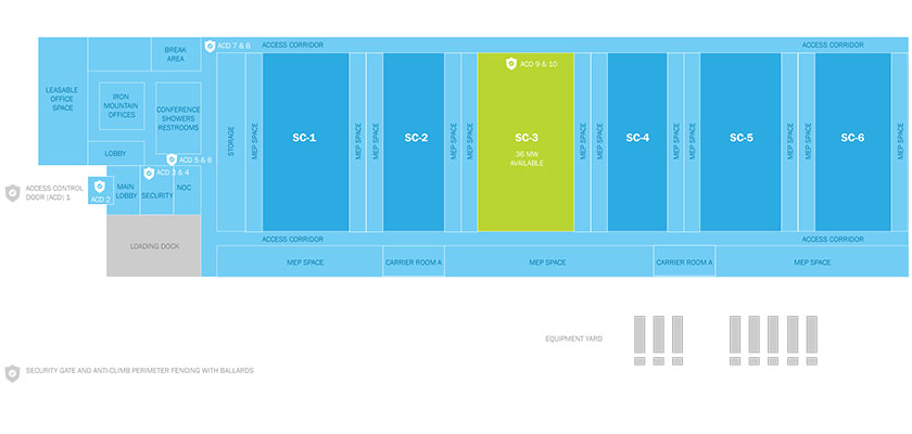 Data Center Diagram - This FISMA High Rated Northern Virginia facility is protected by 8 layers of MFA and more.